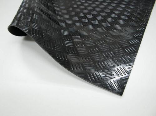 Checker PVC - wykładzina PCV, PCW, czarna, ryflowana
