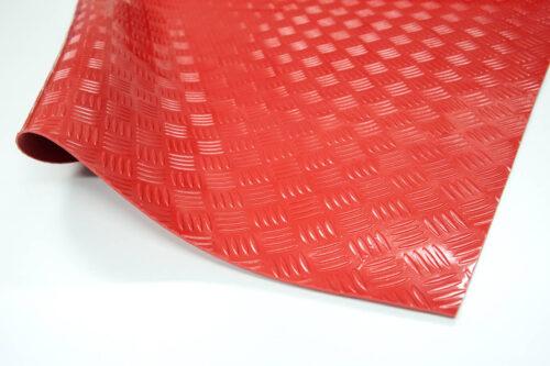 Checker PVC - wykładzina PCV, PCW, czerwona, ryflowana