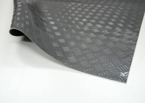 Checker PVC - wykładzina PCV, PCW, szara, ryflowana, rolka