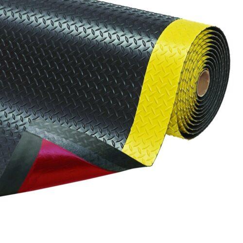 NOTRAX 979 Saddle Trax - Mata antyzmęczeniowa, ergonomiczna, przeciwzmęczeniowa, wzmocniona, czarna z żółtymi pasami 2