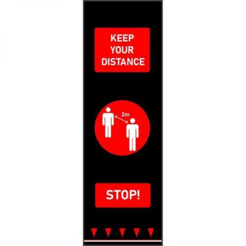 Mata bezpiecznego odstępu 0,65 m x 2 m - postacie - czerwony - angielski