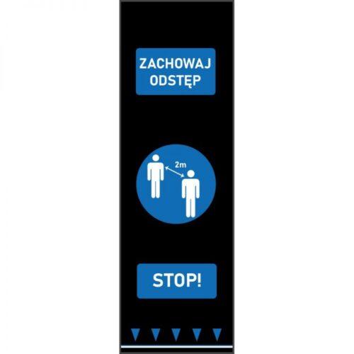 Mata bezpiecznego odstępu 0,65 m x 2 m - postacie - niebieski - polski