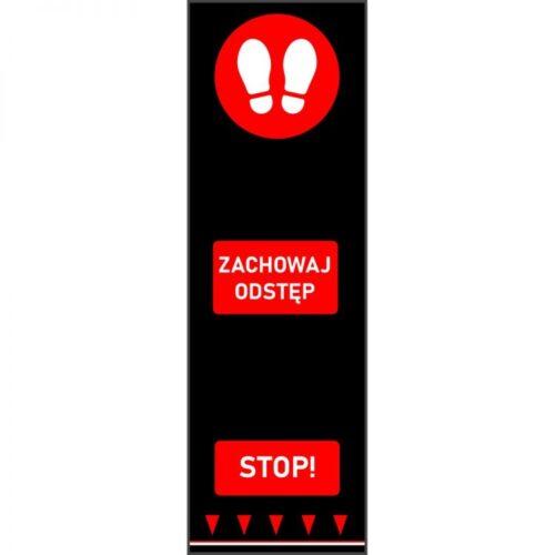 Mata bezpiecznego odstępu 0,65 m x 2 m - stopy - czerwony - polski